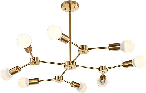 MELUCEE Brass Sputnik Chandeliers 8-Light Mid Century Modern Light Semi Flush Mount Ceiling Light Fixture