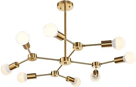 8 Light Modern Brass Sputnik Flush Mount Chandelier Light Fixture