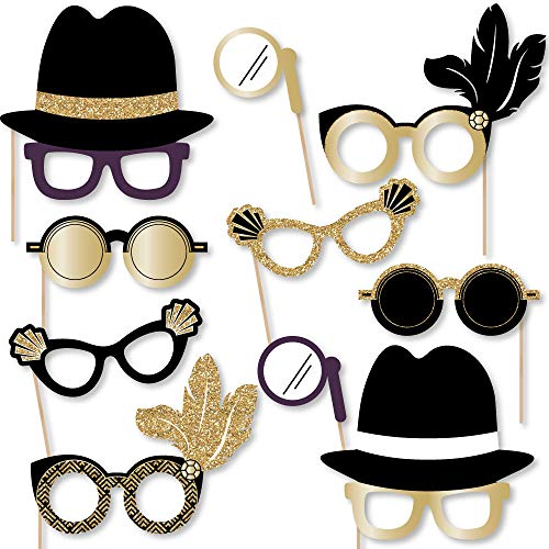 Big Dot of Happiness Roaring 20's Glasses - Paper Card Stock 1990s Party Photo Booth Props Kit - 10 Count