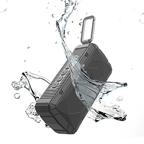 APIE Portable Wireless Outdoor Bluetooth Speaker IPX6 Waterproof Dual 10W Drivers, Enhanced Bass, Built in Mic, water Resistant, Beach, Shower & Home (Black)