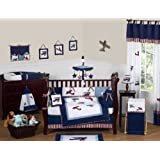 Red, White and Blue Vintage Aviator Airplane Plane Baby Boy Bedding 9 pc Crib Set by Sweet Jojo Designs