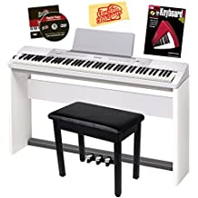 Casio Privia PX-350 Digital Piano - White Bundle with Adjustable Stand, Bench, Dust Cover, Headphones, Sustain Pedal, Instructional Book, Austin Bazaar Instructional DVD, and Polishing Cloth