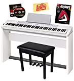 Casio Privia PX-350 88-Key Digital Piano Bundle with Casio SP-67 Furniture-Style Stand, Casio SP-33 3-Pedal System, Gearlux Padded Flip-Top Piano Bench, Hal Leonard Instructional Book, and Austin Bazaar Polishing Cloth - White