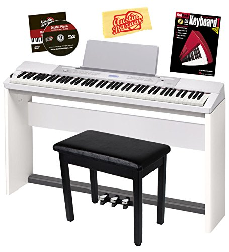 Casio Privia PX-350 Digital Piano – White Bundle with Adjustable Stand, Bench, Dust Cover, Headphones, Sustain Pedal, Instructional Book, Austin Bazaar Instructional DVD, and Polishing Cloth