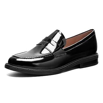 Zapatos para mujer HWF Mocasines De Mujer Zapatos De Cuero Estilo Británico, Primavera Oxford, Zapatos De Tacón Plano (Color : Negro, Tamaño : 38): ...