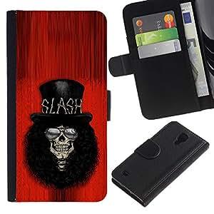 Be-Star la tarjeta de Crédito Slots PU Funda de cuero Monedero caso cubierta de piel Para Samsung Galaxy S4 IV I9500 ( Rock Guitar Player Red Top Hat Famous )