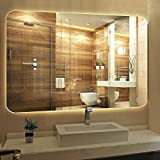 Alice Horizontal LED Lighted Vanity Bathroom Silvered Mirror, Touch Button Mirror Make up Mirror Wall Bar Mirror, 36 Inch x 28 Inch Glossy Silver Wall Mounted Mirror for Bathroom Living Room