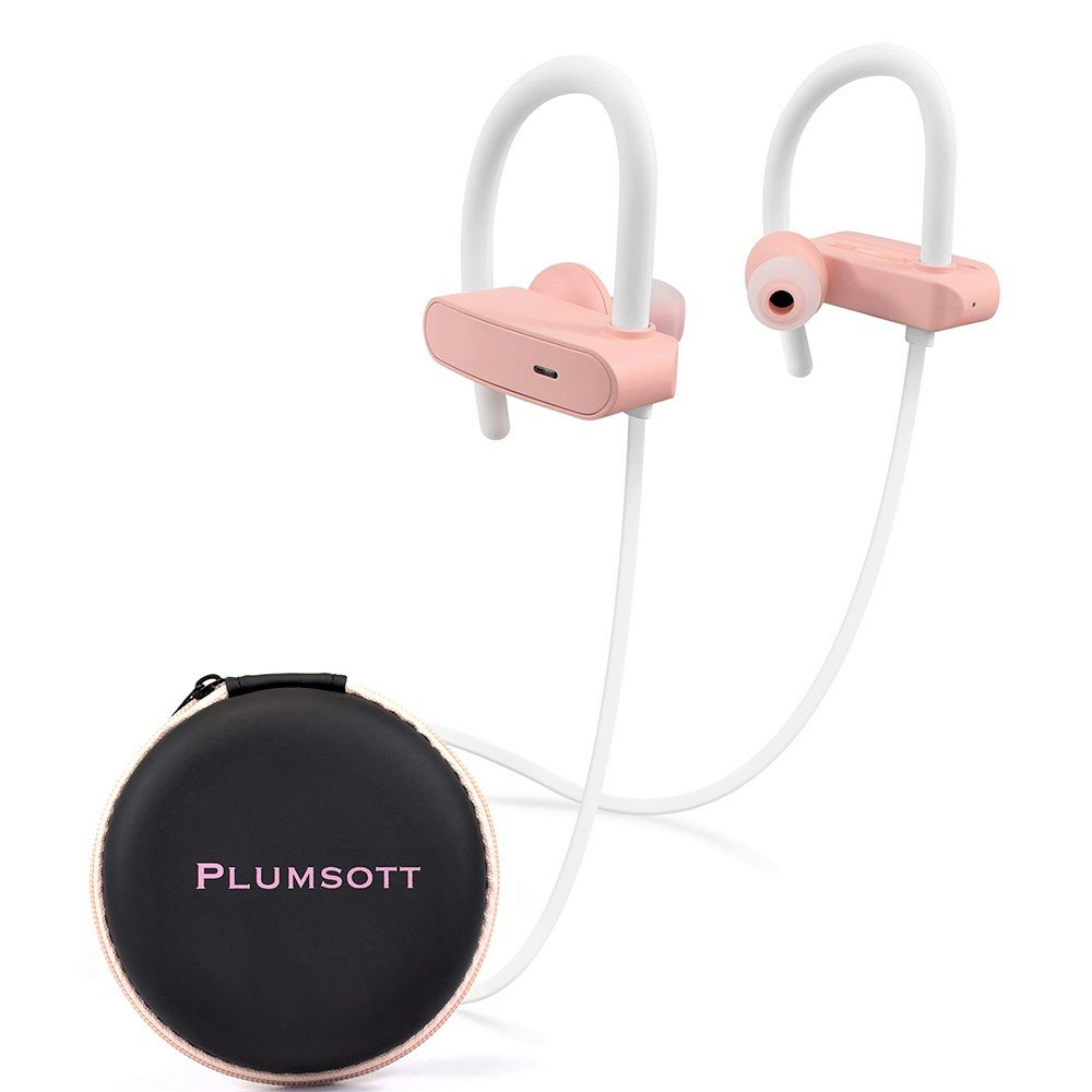 Bluetooth Wireless Headphones for Workout | Sports Noise Cancelling Earbuds for iPhone | Running Over Ear Headset | Best Built in Mic | IPX7 Rated Waterproof | Gym Cordless Earphones | Pink White Rose by PLUMSOTT