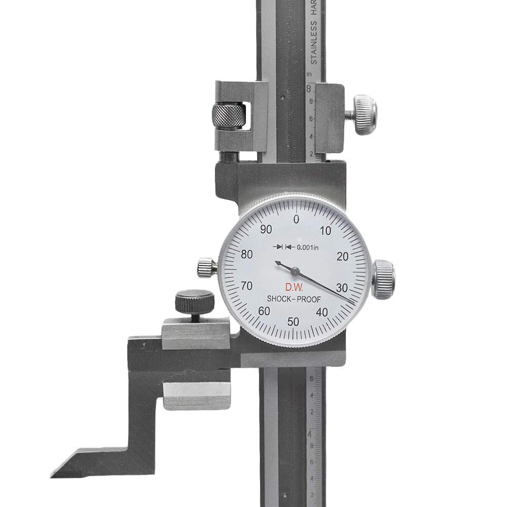 8 Dial Height Gauge Graduation .001 Shock Proof Stainless Steel Height Gage