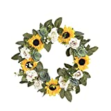 FAVOWREATH 2018 Vitality Series FAVO-W101 Handmade 11 inch Sunflowers,Roses,Green Leaf Grapevine Wreath for Summer/Fall Festival Front Door/Wall/Fireplace Every Day Nearly Natural Home Hanger Decor