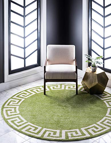 Light Green Contemporary Rug - Unique Loom Athens Collection Geometric Casual Modern Border Light Green Round Rug (8' 0 x 8' 0)