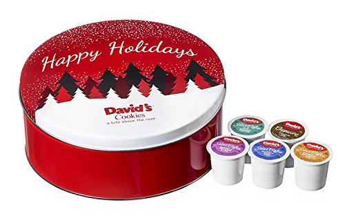 David's Cookies Café Collection Holiday Tin with Custom Coffee & Cappuccino Single Serve K-Cups, 30 Count ()