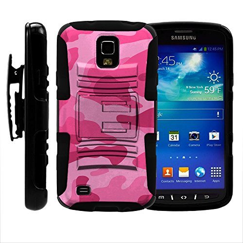 S4 Active Case, S4 Active Holster, Two Layer Hybrid Armor Hard Cover with Built in Kickstand for Samsung Galaxy S4 IV Active I9295, SGH-I537 (AT&T) from MINITURTLE | Includes Screen Protector - Pink Camouflage (Samsung Galaxy S4 Case 2 Layer)