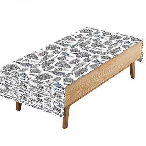 ric Tablecloth Embellished Sea Objects Seashell Mollusk Scallop Pearl Design Dark picnics.Gathering W60 x L84 INCH ()