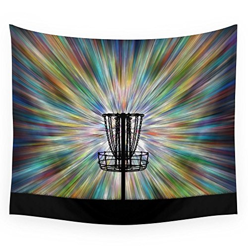 Society6 Disc Golf Basket Silhouette Wall Tapestry Large: 88'' x 104'' by Society6