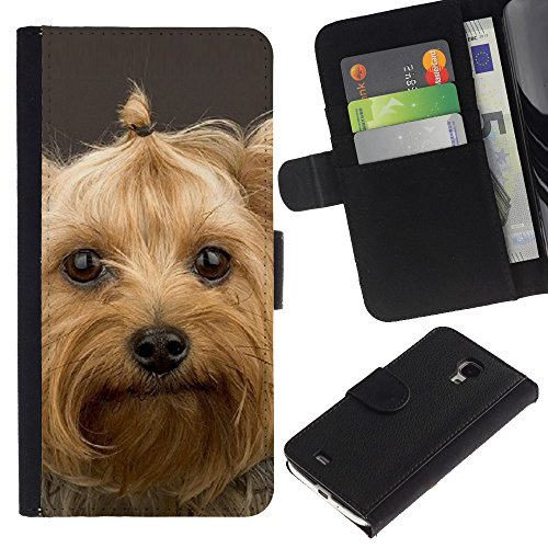EuroCase - Samsung Galaxy S4 Mini i9190 MINI VERSION! - Yorkshire terrier pet dog cute - Cuero PU Delgado caso cubierta Shell Armor Funda Case Cover