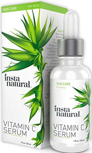 InstaNatural Vitamin C Serum with Hyaluronic Acid & Vit E - Natural & Organic Anti Wrinkle Eraser Formula for Face - Dark Circle, Fine Line & Sun Damage Corrector - Restore & Boost Collagen - 1 OZ