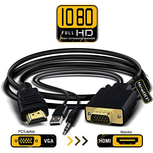 VGA to HDMI Adapter Cable, NewBEP 6Ft/1.8m VGA to HDMI 1080P HD Audio TV AV HDTV Video Converter Cord with 3.5mm Audio Cable & USB Power Cable for PC Computer Desktop Laptop Projector by NewBEP (Image #6)