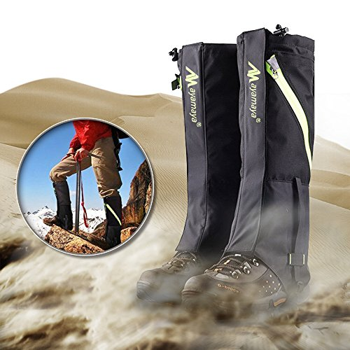 AYAMAYA Hiking Gaiters Waterproof Boot Snow Gaitors, Hiking Equipment Breathable High Boots Shoes Cover Leg Protection Guard, Anti Dust/Mud/Debris/Rock/Bush Gaiters for Hunting (Black, Adult)