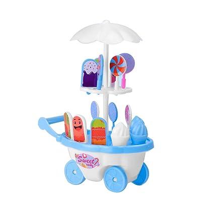 YeahiBaby Juguete de Camion de Helados para Bebe Carrito de Juegos para Cocinar para Niños (
