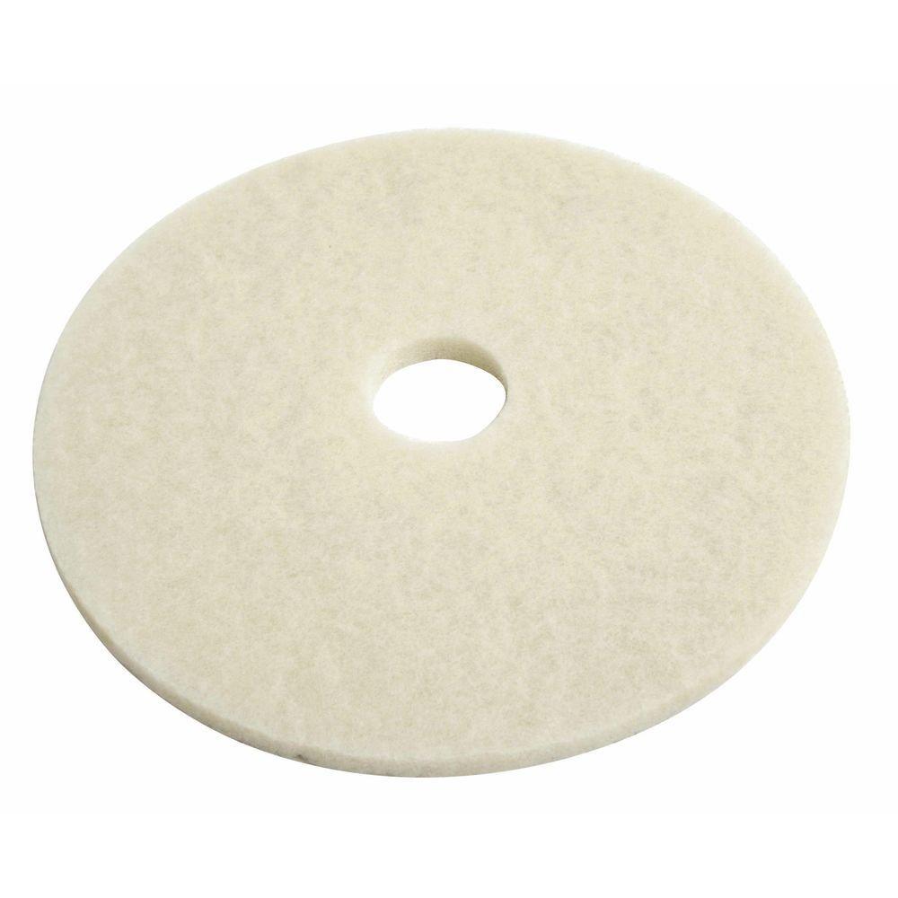 HUBERT Floor Polishing Pad Round White - 17'' Dia 5 Per Case