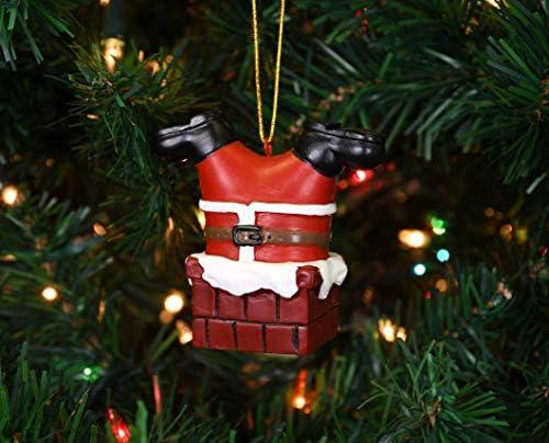 Tree Buddees Santa Claus Stuck in The Chimney Funny Christmas Ornament Xmas