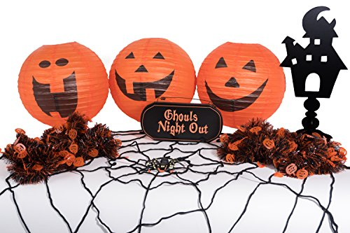 Halloween Room Decorating Kit- 8pc Halloween Decorations to Instantly Create a Ghouls Night Out in Black and Orange