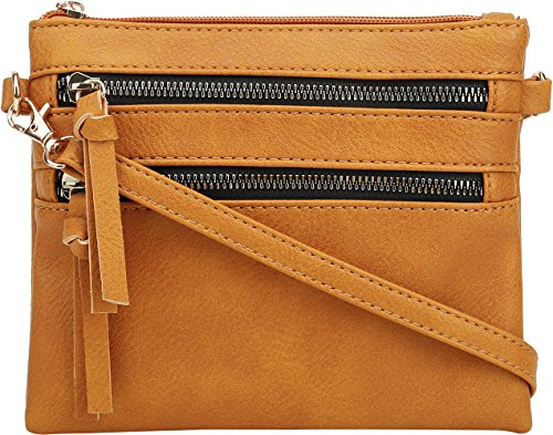 Zipper Wristlet Multi Functional DELUXITY Double Bag Mustard Small Crossbody Pocket gF4OHwAXq