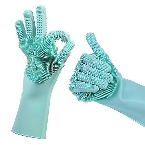 Magic Silicone Dishwashing Scrub Gloves - with Finger Grip Scrubber 2019 Updated Model 2 Sided, Heat Resistant sponge glove for Cleaning, Bathroom, Household, Car, Pet Hair; 1 Pair Green (Super Bowl 2019 Best Moments)