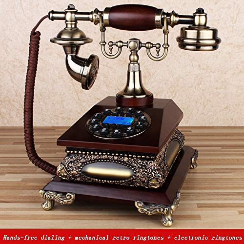QQDIANHUA Antique Phone Rotary Dialing Phone Classic Metal Clock Handsfree Wired Retro Phone Vintage Decorative Phone for Office Home Living Room Decor Wonderful Gift