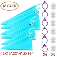 """ANSLYQA Pastry-Piping-Bags Sets (18 Pack) with 6PCS 3 Sizes (12""""+14""""+16"""") Reusable-Silicone Icing-Bags, 6 Small Piping-Bag Couplers and 6 Frosting-Bag Ties"""