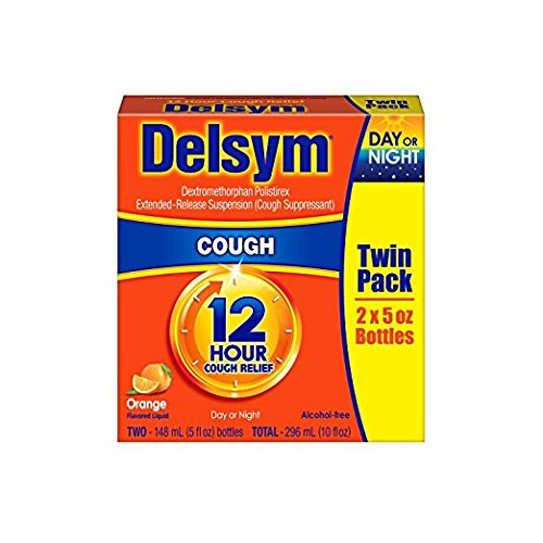 Delsym Cough Suppressant Alcohol Free Orange Flavored Liquid- 6 Pack, (5 ounces Each ) HEALTH5-CG50-ND
