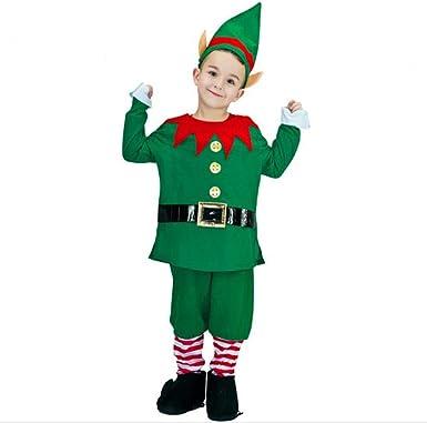 Toddler Child Elf Costume Santas Helper Christmas Fancy Dress Outfit Boys Girls