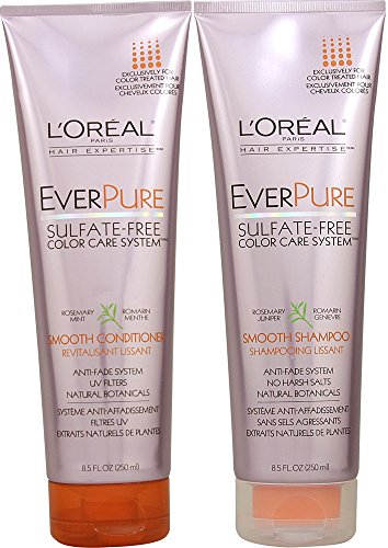 L'Oreal Paris EverPure Sulfate-Free Color Care System, DUO Set Smooth Shampoo + Conditioner, 8.5 Ounce, 1 Each (Loreal Sulfate)