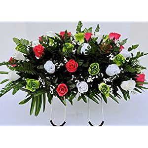 Spring Cemetery Flowers for Headstone and Grave Decoration-Pink Green and White Rose Mix Saddle 27