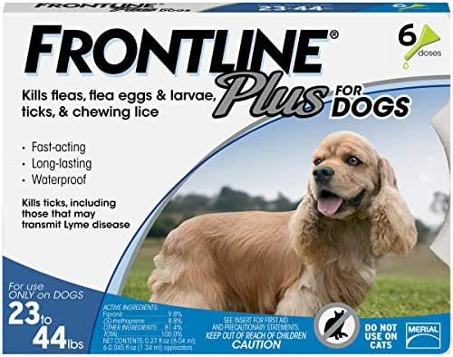 Frontline Plus for Medium Dogs (23-44 pounds) Flea and Tick Treatment, 6 Doses