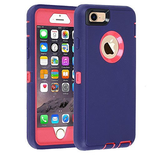 iPhone 6/6s Case,[Heavy Duty] Armor 3 in 1 Built-in Screen Protector Rugged Cover Dust-Proof Shockproof Drop-Proof Scratch-Resistant Tough Shell Case for Apple iPhone 6/6s 4.7 inch (Purple)