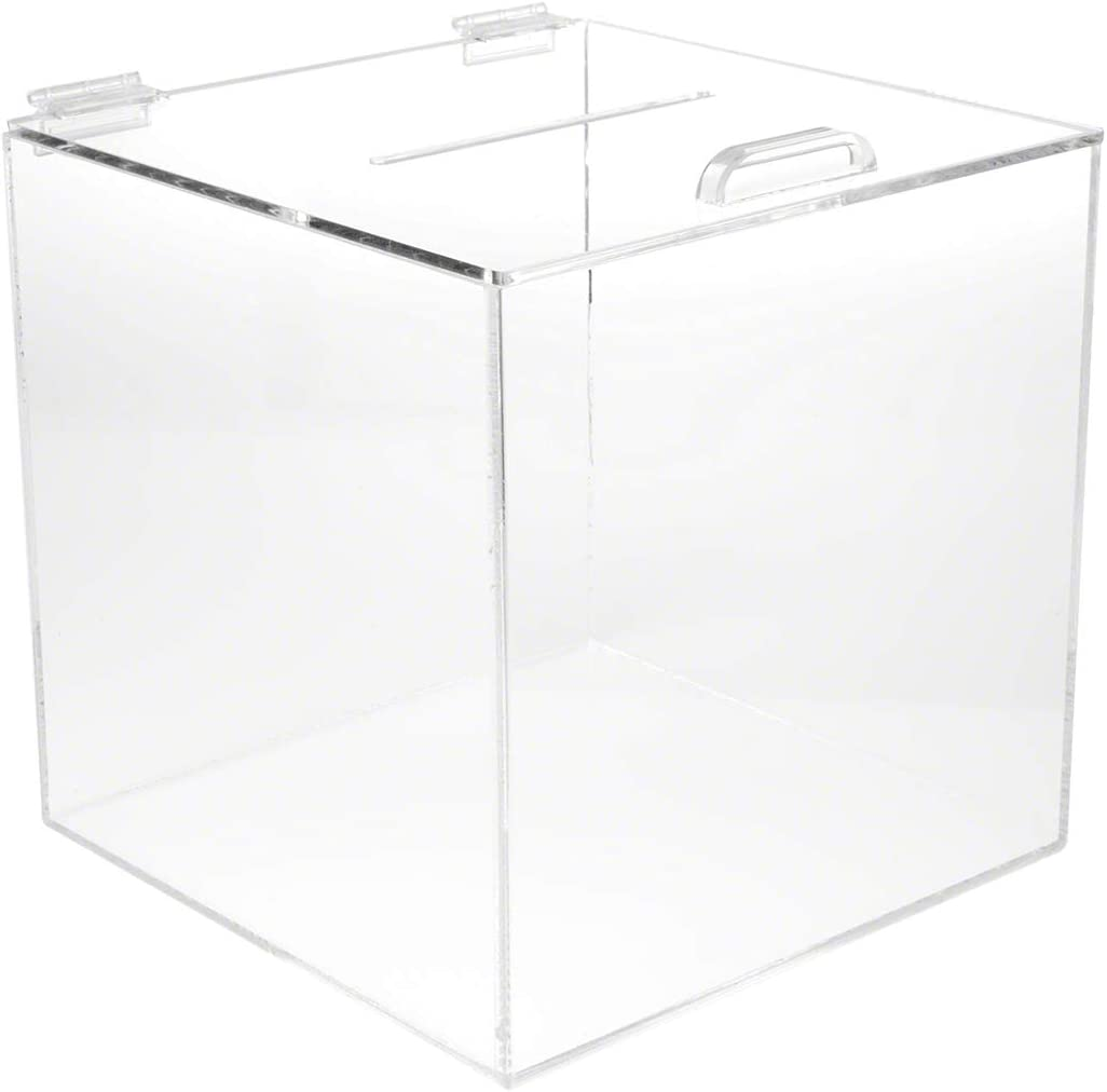 """Plymor Clear Acrylic Display Case Box With Hinged Lid 6/"""" x 6/"""" x 6/"""""""