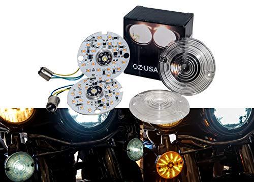 Front White Amber OZ-USA Dual LED Bulb 1157 Turn Signal Kit Harley Day Time Running Touring Maker - Light Plus Signal