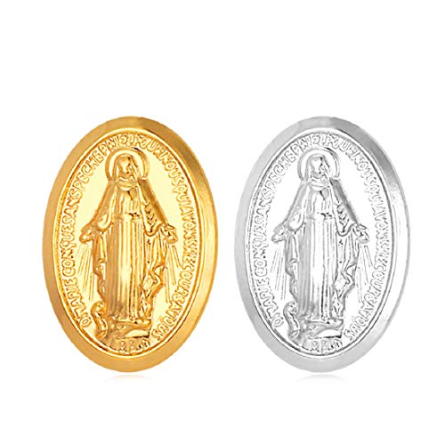 U7 2 Pcs Brooches Set Platinum & 18K Gold Plated Miraculous Medal Virgin Mary Brooch Women Corsage Men Lapel Stick Pin,1 Gold, 1 Platinum (18k Gold Stick Pin)