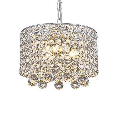 (Modern Crystal Chandelier, 3-Light Flush Mount Ceiling Light Fixture 9.8Inches Diameter for Hallway, Dining Room, Bedroom, Living Room,)