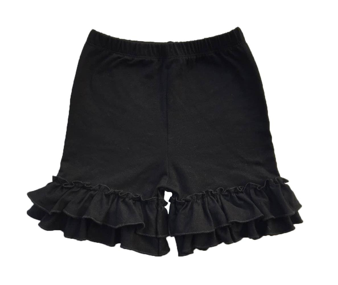 Coralup Baby & Little Girls Ruffles Cotton Shorts P6081_Black(XL,4-5Y)
