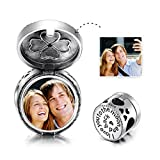 LONAGO Sterling Silver Personalized Photo Charms Bead for Bracelets Necklace Engraved with I Love You to The Moon and Back