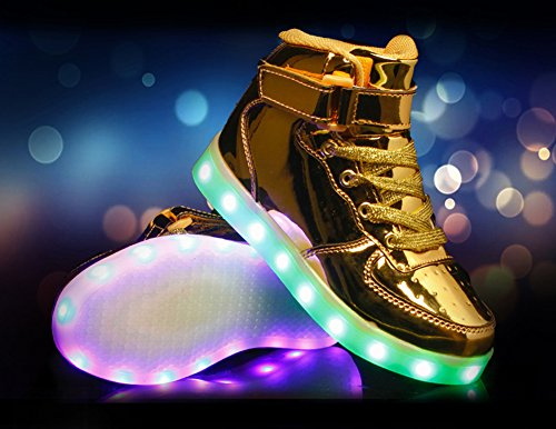Coolloog Adult High Top LED Leuchten 11 Farben USB Lade Flashing Sneakers für Weihnachten Golden