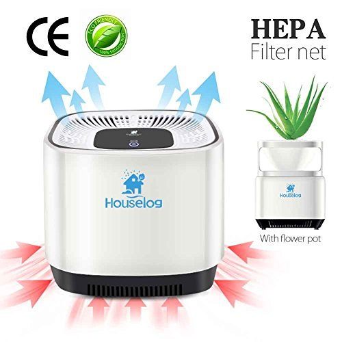 Houselog Air Purifier with True HEPA Filter Portable Aromatherapy Cleaner with Flowerpot Cigarette Smoke Eliminator Remove Odor Smell Pet Dander for Home Office