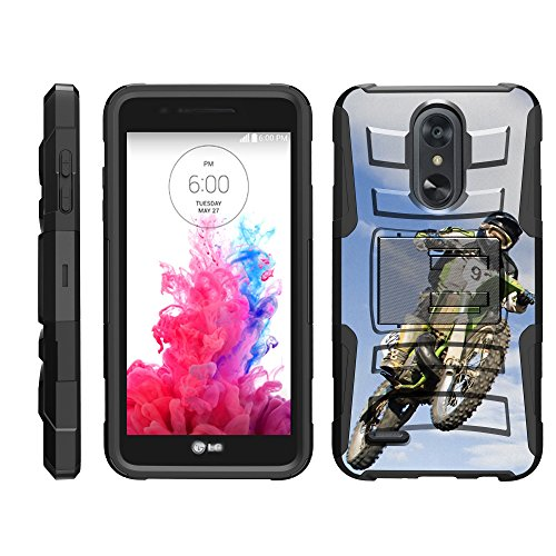 (TurtleArmor | Compatible for LG Aristo 3 Case | Risio 3 | Rebel 4 | Tribute Empire [Hyper Shock] Armor Hybrid Cover Kickstand Impact Holster Belt Clip Sports and Games - Motocross Bike)