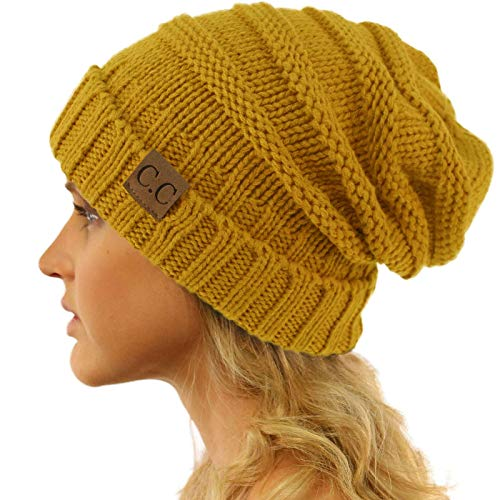Winter Trendy Warm Oversized Chunky Baggy Stretchy Slouchy Skully Beanie Hat Mustard (Hats Adult Winter)