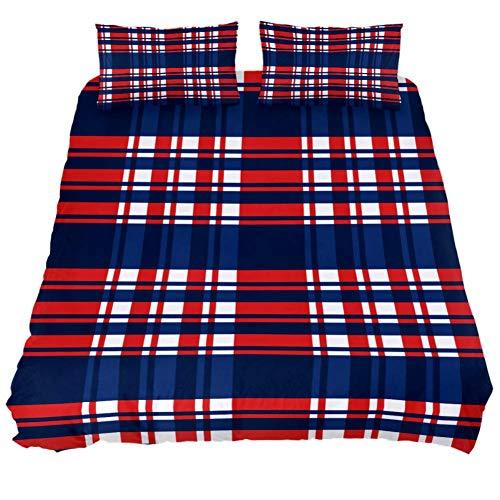 LORVIES Madras Plaid Red White Blue Duvet Cover Sets Decorative 3 Piece Bedding Sets with Pillow Shams for Men Women Boys Girls Kids Teens ()