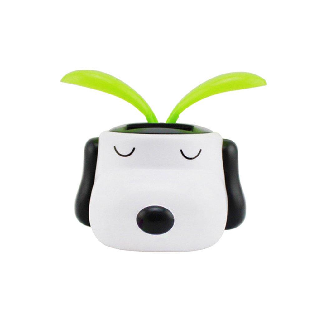 YOURNELO Creative Dog Solar Energy Bobblehead Toy Car Accessories/Dashboard Decoration (White dog)