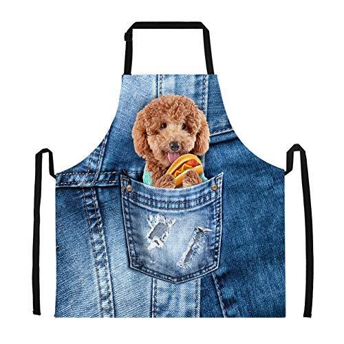 Summeridea Fashion Denim Puppy Dog Pattern Chef Restaurant Bib Baking Dress Apron
